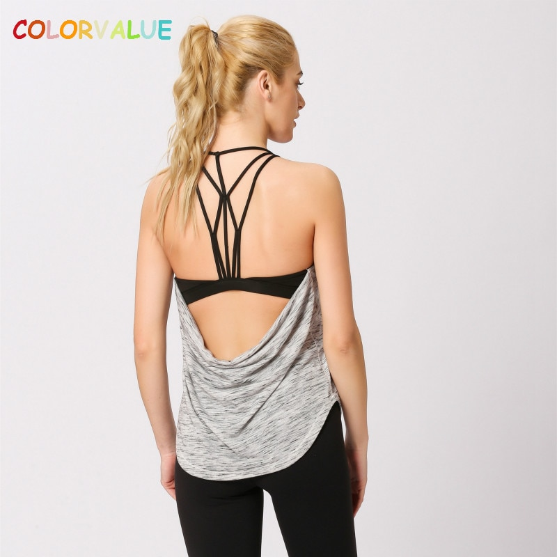 Colorvalue, новинка, Встроенный бюстгальтер, спортивный жилет для фитнеса, для женщин, сексуальный, открытая спина, для йоги, для тренировок, топы, свободный крой, мягкий, для занятий спортом, для бега, жилет, S-XL