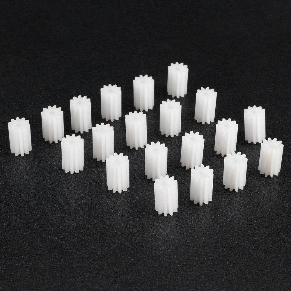 Uxcell 20 unids/lote 102/182A 10/18 dientes Mini engranaje de plástico 2mm diámetro del agujero DIY coche Robot Motor accesorios de juguete