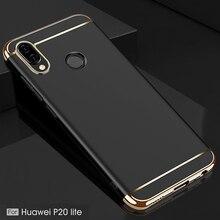 YUETUO etui arrière de téléphone en plastique dur de luxe, coque, housse, étui pour huawei p20 lite p20lite p 20 lite nova 3e accessoires noirs