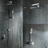 free shipping concealed shower set wall mounted shower faucet 8 inch square rainfall shower head kit b s0808w