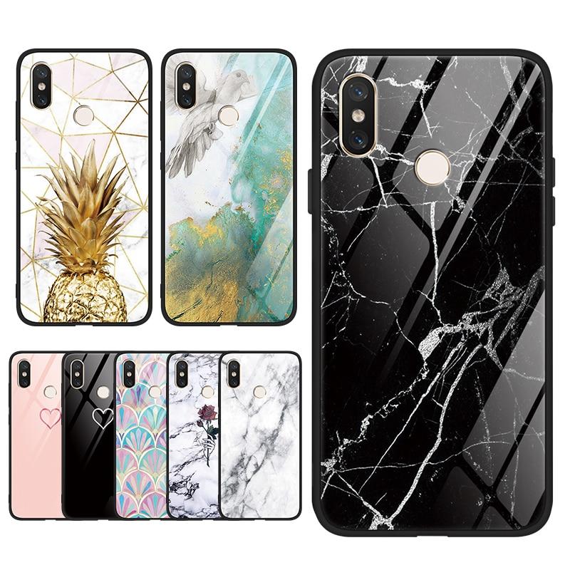 Marble Tempered Glass TPU Funda Capa For Xiaomi Mi Note 10 A3 CC9e CC9 8 9 9T Redmi Note 8T 7 5 6 8T K20 Pro K30 Luxury Bag Case
