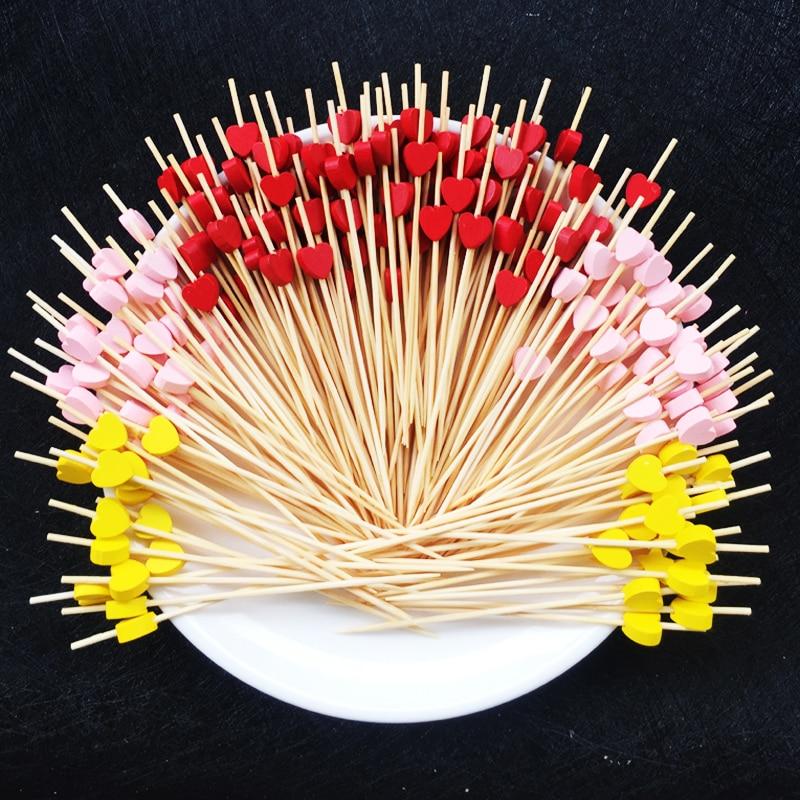 Palillo de bambú con forma de corazón y flores para Buffet, magdalenas y frutas, tenedor para fiesta, postre, ensalada, pincho de cóctel para decoración de boda, 100 pc12cm