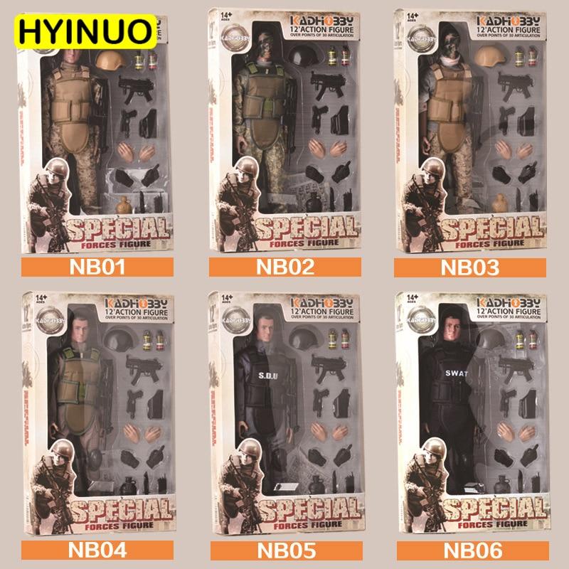 Juguete de camuflaje de plástico a escala 1/6 con 6 modelos, modelo militar, juego de figuras de acción, modelo esculpido de 12 pulgadas, juego completo de figuras de acción de juguete