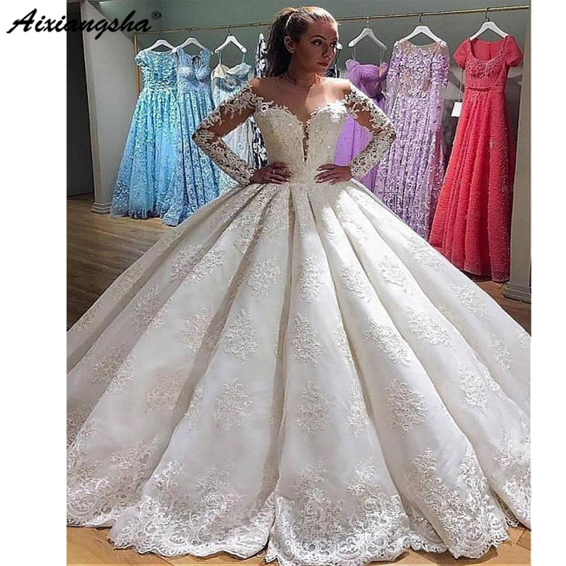 2019 vestidos De novia musulmanes Vestido De fiesta De Noiva De manga larga Vestido De encaje con cuentas Boho Dubai árabe Vestido De novia vestidos De novia