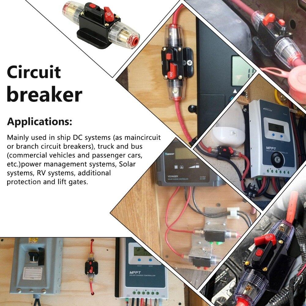 12V 24V 20A 30A 40A 50A 60A 80A 100A Auto Car Bike Stereo Audio Solar Energy Circuit Breaker Reset Fuse Inverter Home Solar Use