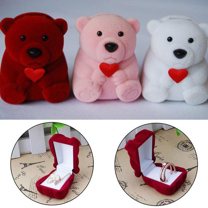 Novedad de 2019, Mini joyería roja de oso bonito, Cajas de Regalo para anillos y pendientes pequeños, collar con colgante, caja de transporte de moda Srotage