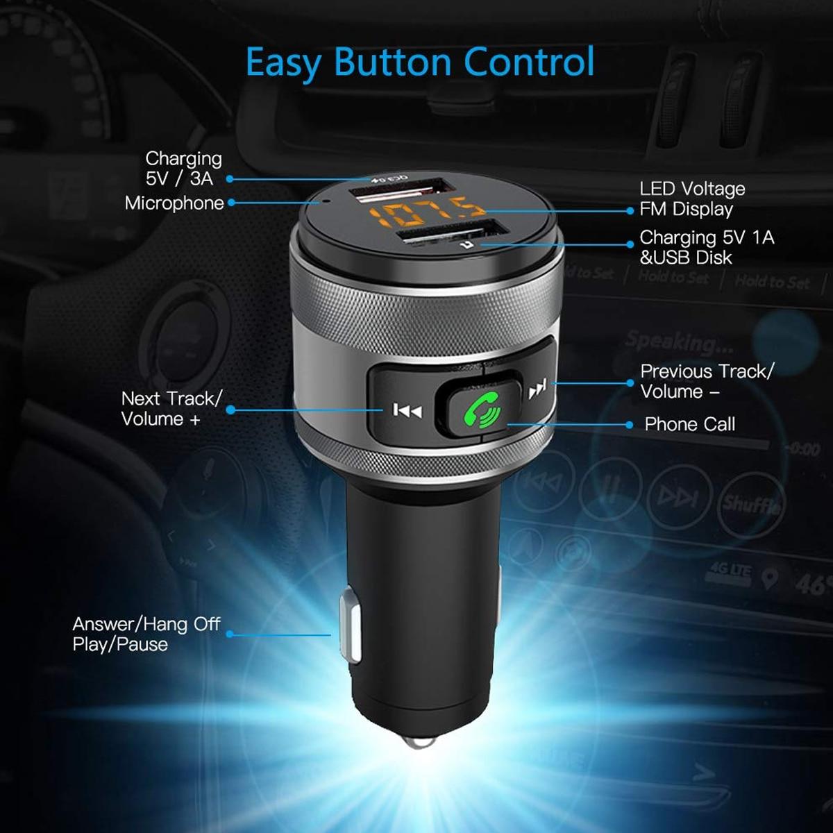 C57 Dual puertos USB carga rápida 3,0 cargador de coche Bluetooth transmisor FM Kit de coche reproductor de música MP3 adaptador de Radio FM inalámbrico