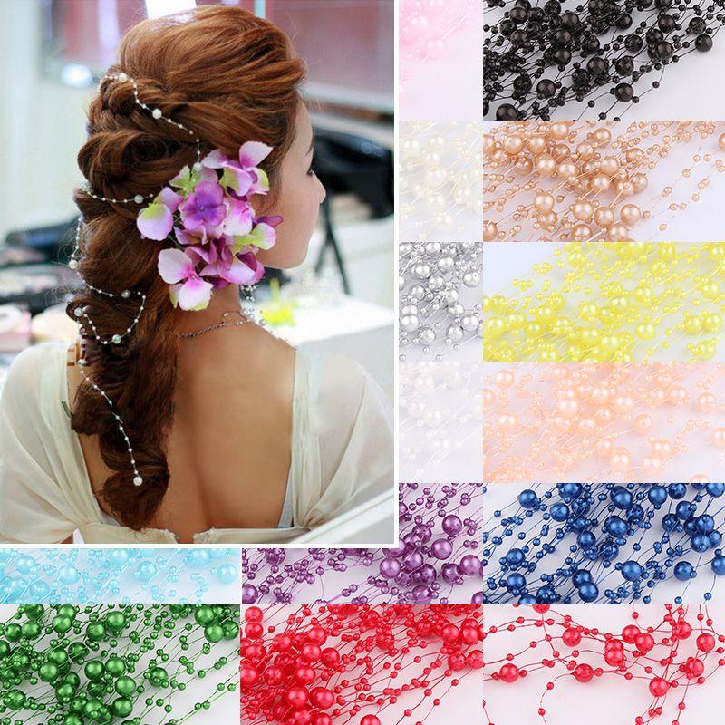 4 teile/los 5m 17 Farben Schöne Angelschnur Künstliche Perlen Perlen Kette Girlande Blumen Für DIY Hochzeit Dekoration Produkte
