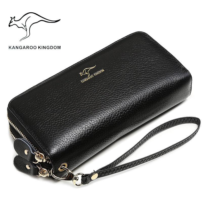 Billeteras de lujo KANGAROO KINGDOM de piel auténtica con doble cremallera para mujer, cartera de mano de marca famosa