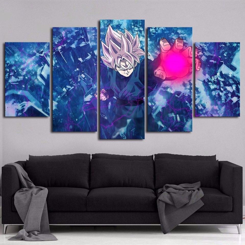 Cuadro de pared HD imágenes impresas de lona marco 5 Panel de la bola del dragón del animación Pinturas Modernas Modular carteles Casa Decor arte