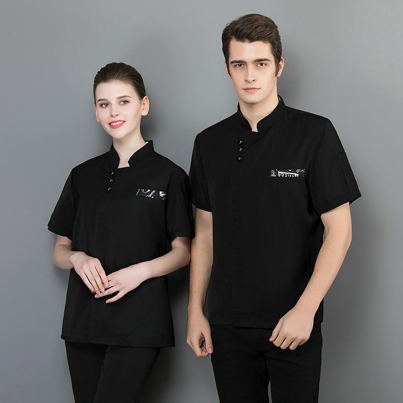 Svitania Unisex Kitchen Chef Uniform Bakery Food Service Short Sleeve Breathable Single Breasted Cook Wear Chef Jacket
