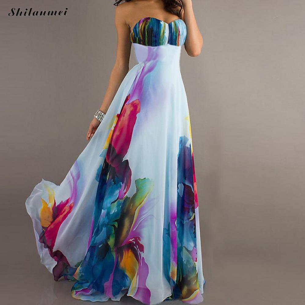 Boho Vestido Largo New Tallas Grandes Big Size Slash Neck Strapless Floral Beach Dress Chiffon Colorful Maxi Long Party Dress