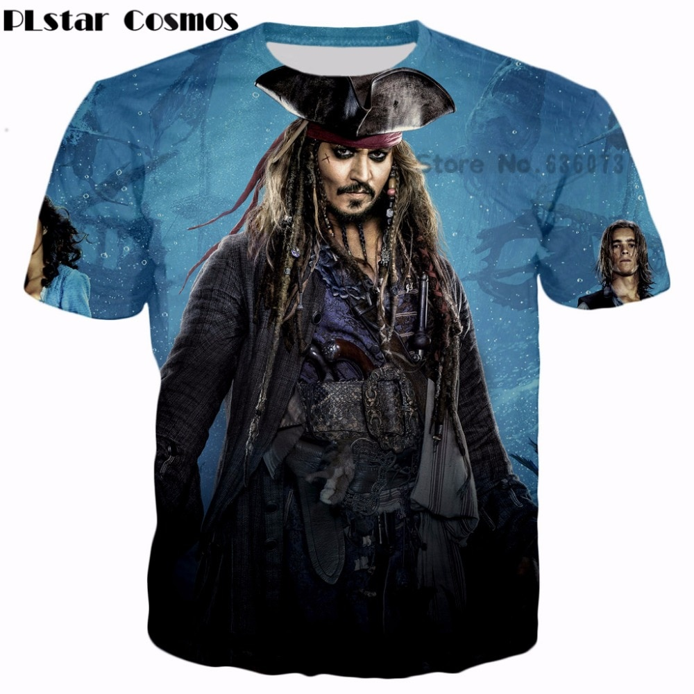 PLstar Cosmos Moda Das Mulheres Dos Homens da marca T-shirt Piratas do Engraçado do caribe Jack Sparrow estilo 3D impresso verão casual t camisa
