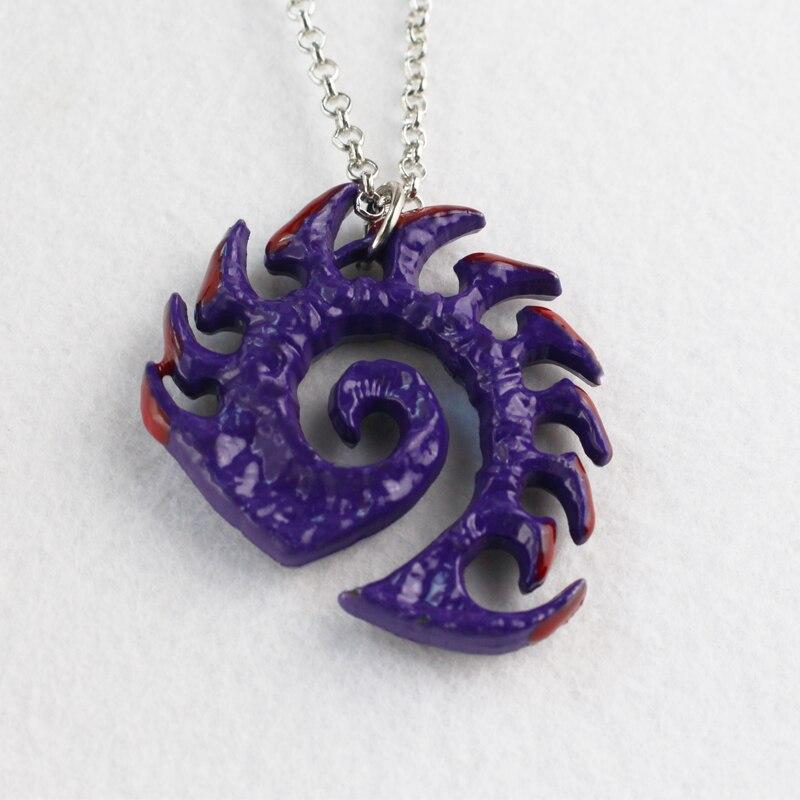 Ожерелье с медальоном Zerg, ручной работы, с логотипом Сары керригана, фиолетовое ожерелье с покрытием, подарок для игрового игрока