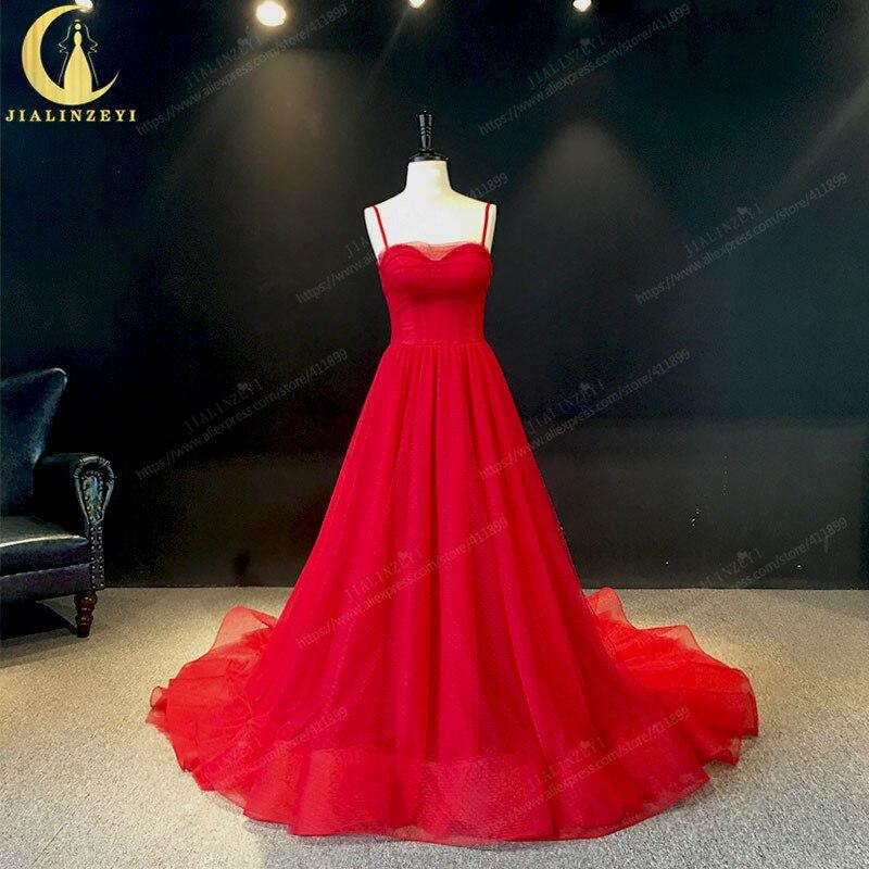 JIALINZEYI красные тонкие лямки, Тюлевое вечернее платье трапециевидной формы, реальное изображение, вечерние платья