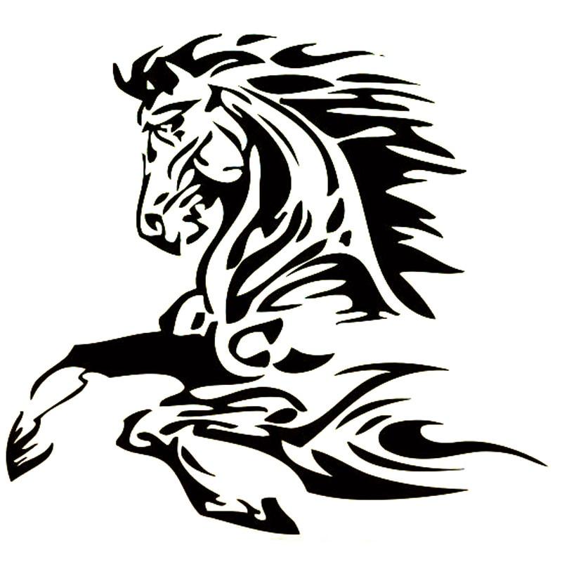 16,6 cm * 15,4 cm Tier Tattoo Pferd Hengst Mode Vinyl Aufkleber Auto Aufkleber Schwarz/Silber Auto Zubehör S6-2820