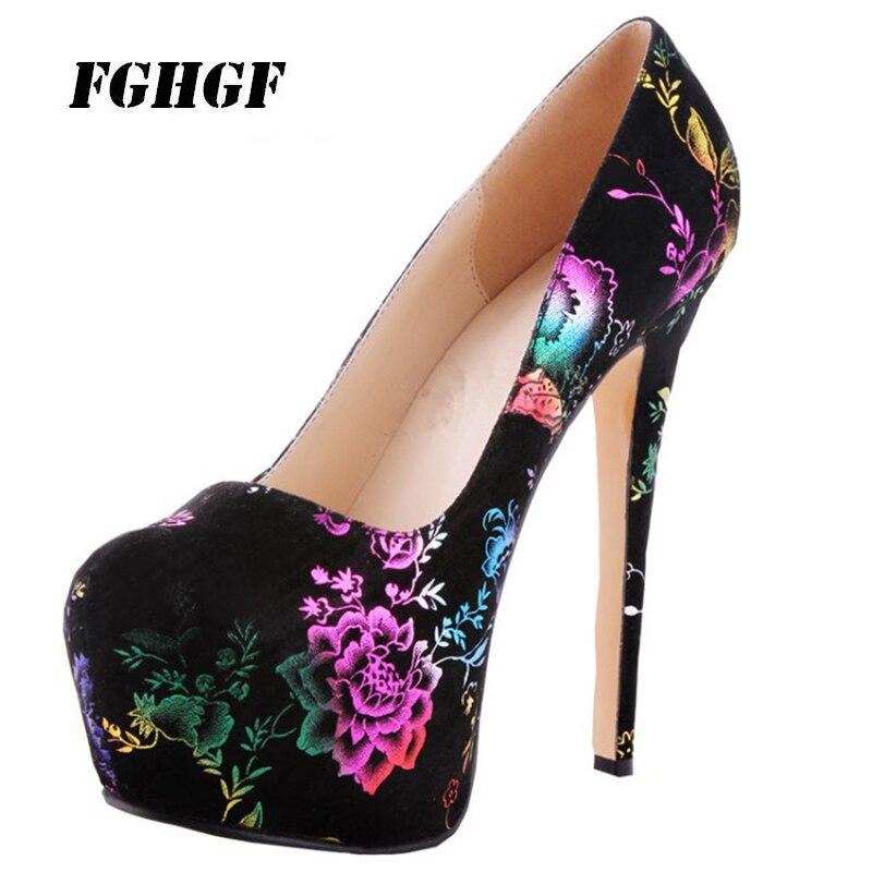 big size shoes women pumps elegant fantasy color four seasons single shoes women shoes 15cm high heels Waterproof Taiwan 34-43