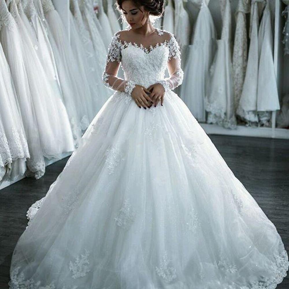 Dubái-vestidos De Novia elegantes De manga larga, traje De boda De corte...