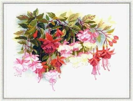 ¡Oferta! Kit de punto de cruz de alta calidad con flores fucsia riolis 1398