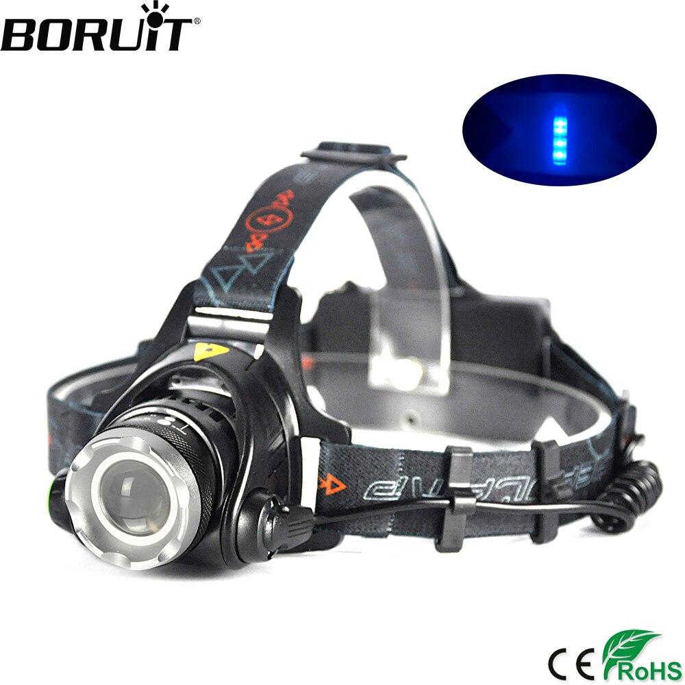 BORUiT 2000LM XML-T6 LED Headlamp 3-Mode Zoom Headlight Outdoor Waterproof Flashlight Hunting Camping Head Torch 18650 Battery