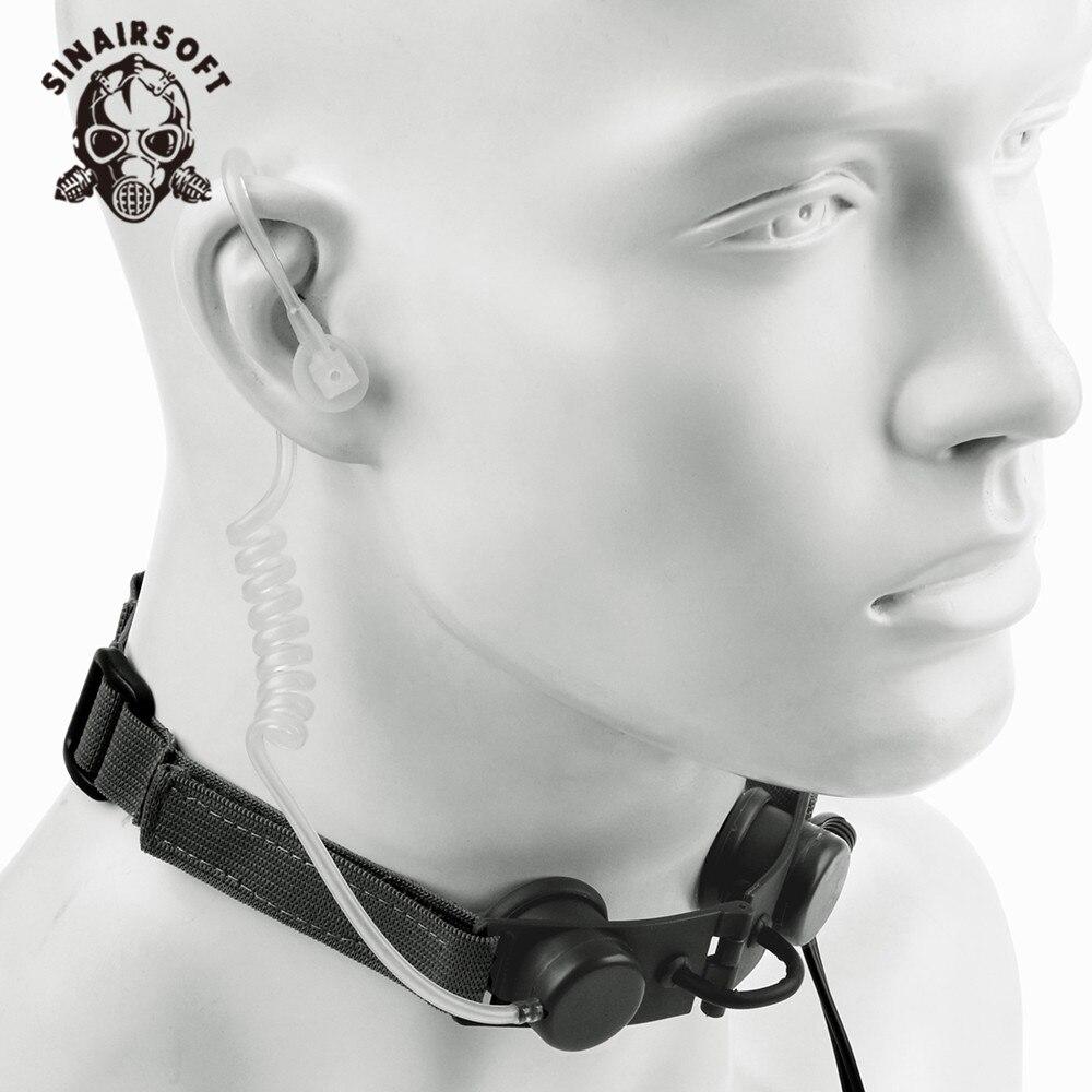SINAIRSOFT Z auriculares tácticos con micrófono de garganta PTT Radio portátil micrófono banda para el cuello caza Airsofte garganta Mic auricular Z033