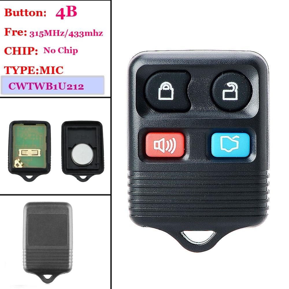 Good quality(1 piece )4 Buttons Remote  Key Transit Keyless Entry Fob 433/315Mhz For Ford ( CWTWB1U345)