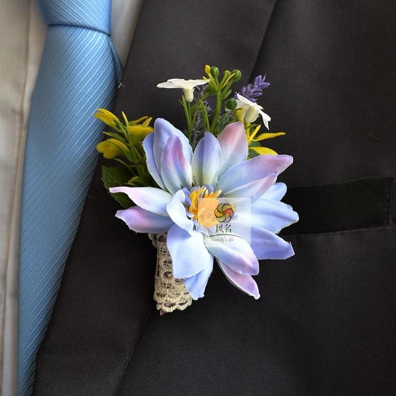 Adorno de ramillete para dama de honor boda novio Boutonnieres Clematis Pin broche Artificial mezcla de colores