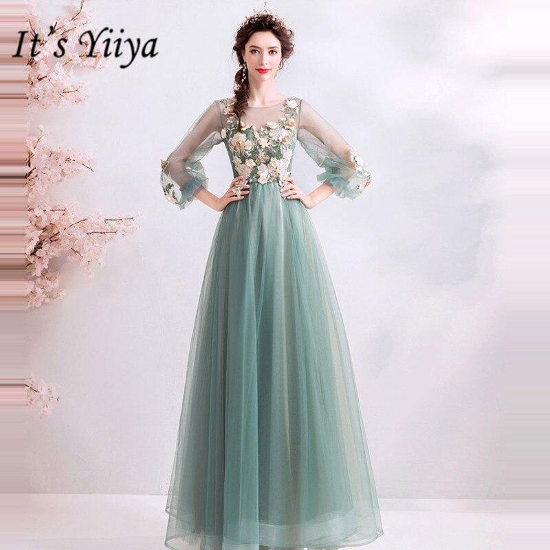 YiiYa-فستان سهرة طويل ، ياقة دائرية ، أكمام طويلة ، أرجوحة ، طول الأرض ، مقاس كبير ، مخصص ، فساتين حفلات ، E243 ، مجموعة 2019
