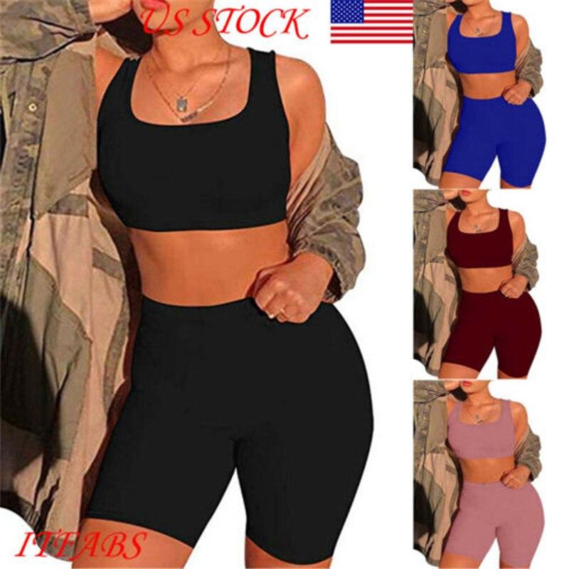 Conjunto duas peças curto e sensual feminino, top cropped e shorts de motociclista, multicolor, bodycon, roupas de verão para mulheres, 2019