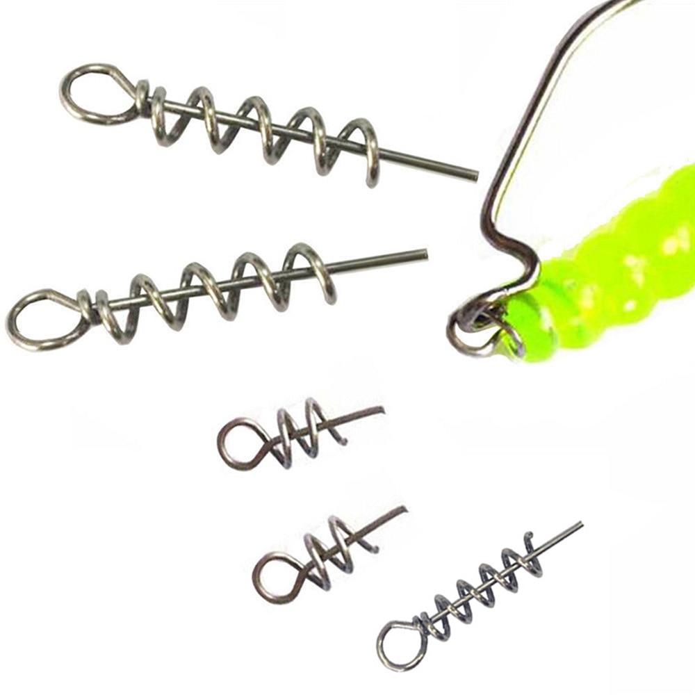 Hyaena 20pcs/lot Assist Soft Baits Hook Lures Pin Spring Twist Fixed Lock Screw Dagger Tools Fishing