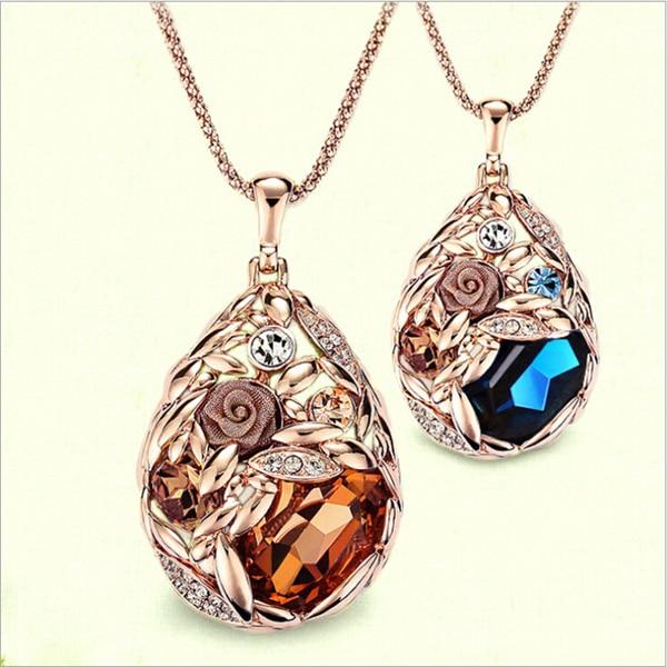 Mais quente colar de cristal de lágrima de ouro jóias, colorido longo cristal strass colar barato jóias por atacado