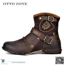Otto zona masculino outono/inverno sapatos botas de couro de vaca genuína alta superior tornozelo botas de algodão-acolchoado sapatos de couro tamanho ue 39-46