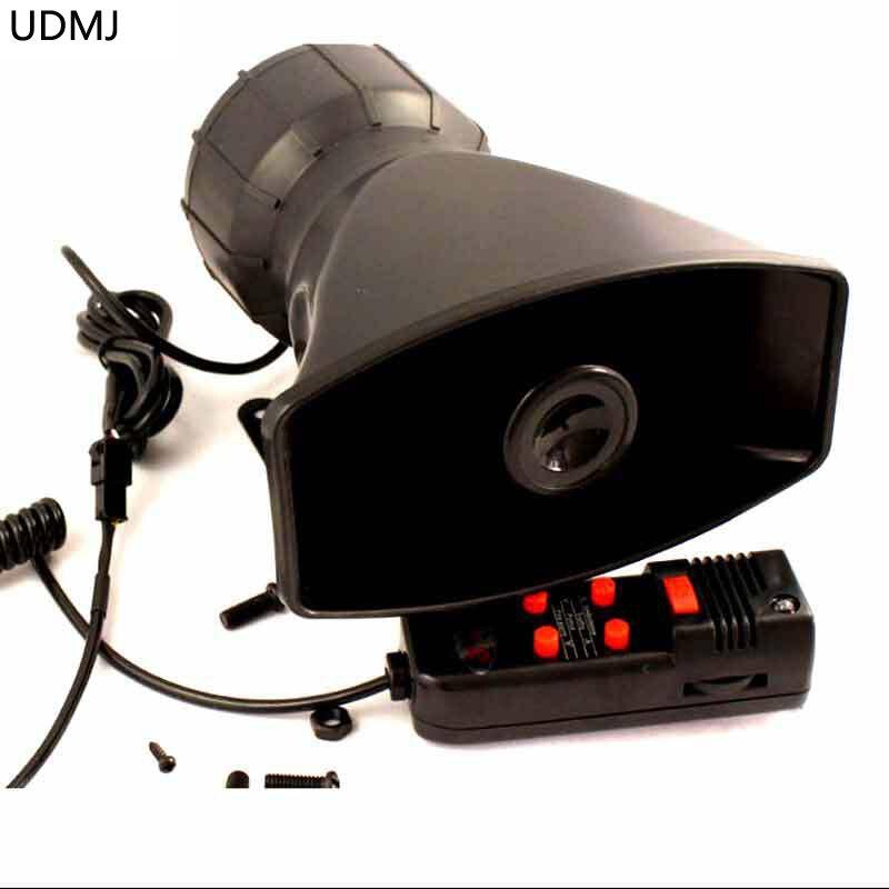 Udmj 100 واط صفارات الشرطة سيارة نارية 5 هجة القرن المذيع إنذار الأمن سيارة مكبر الصوت مع mic 12 فولت