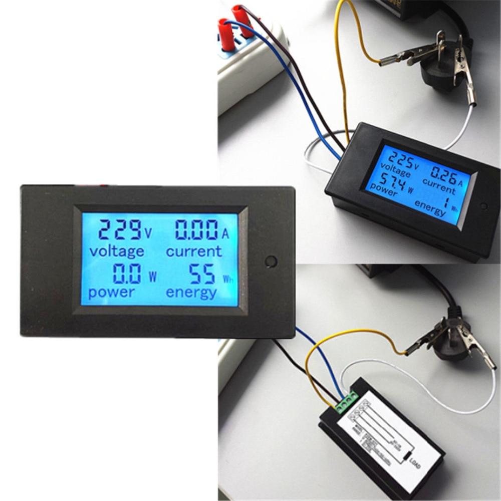 20A AC Digital LED Panel de energía medidor Monitor energía voltímetro amperímetro