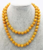 yellow topaz round 10mm necklace 32inch wholesale beads nature fppj woman 2017