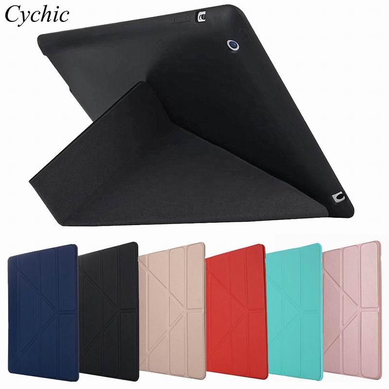 Funda plegable Cychic para Apple iPad 2 iPad 3 iPad 4 Retina TPU funda trasera de silicona Retina Flip Stand funda protectora para tableta Capa