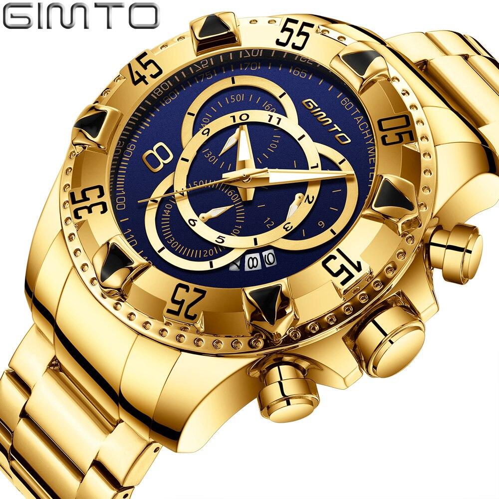 Gimto 2018 criativo relógio masculino relógio de pulso masculino marca luxo esporte quartzo calendário relógios militar à prova dmilitary água relogio masculino