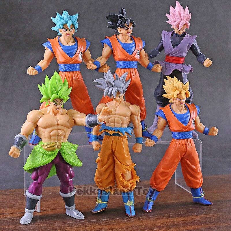 Dragon Ball Z Super Saiyan azul Goku negro Ultra instinto paraguas figuras de PVC de juguete 6 unids/set
