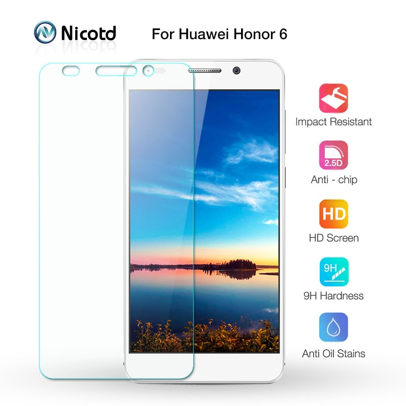 0.26mm Anti-Shock Front Tempered Glass Film For Huawei Honor 6 Dual Honor6 H60-L04 HW-H60-J1 Screen Protector pelicula de vidro