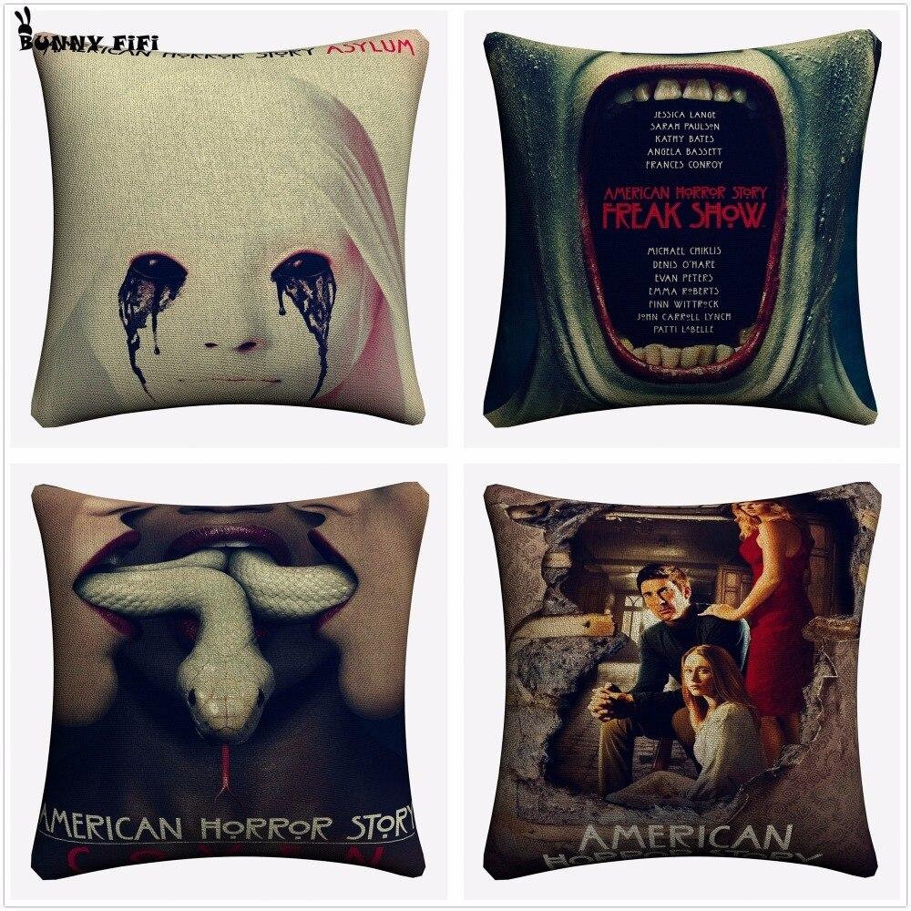 American Horror Story TV Series Decorative Cotton Linen Cushion Cover 45x45cm For Sofa Chair Pillowcase Home Decor Almofada