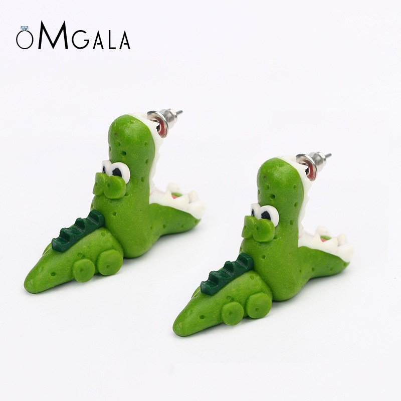 OMGALA Handmade Crocodile Polymer Clay Earrings Cartoon Earings DIY Cute Animal Stud Earrings For Women Girls Gifts Brincos