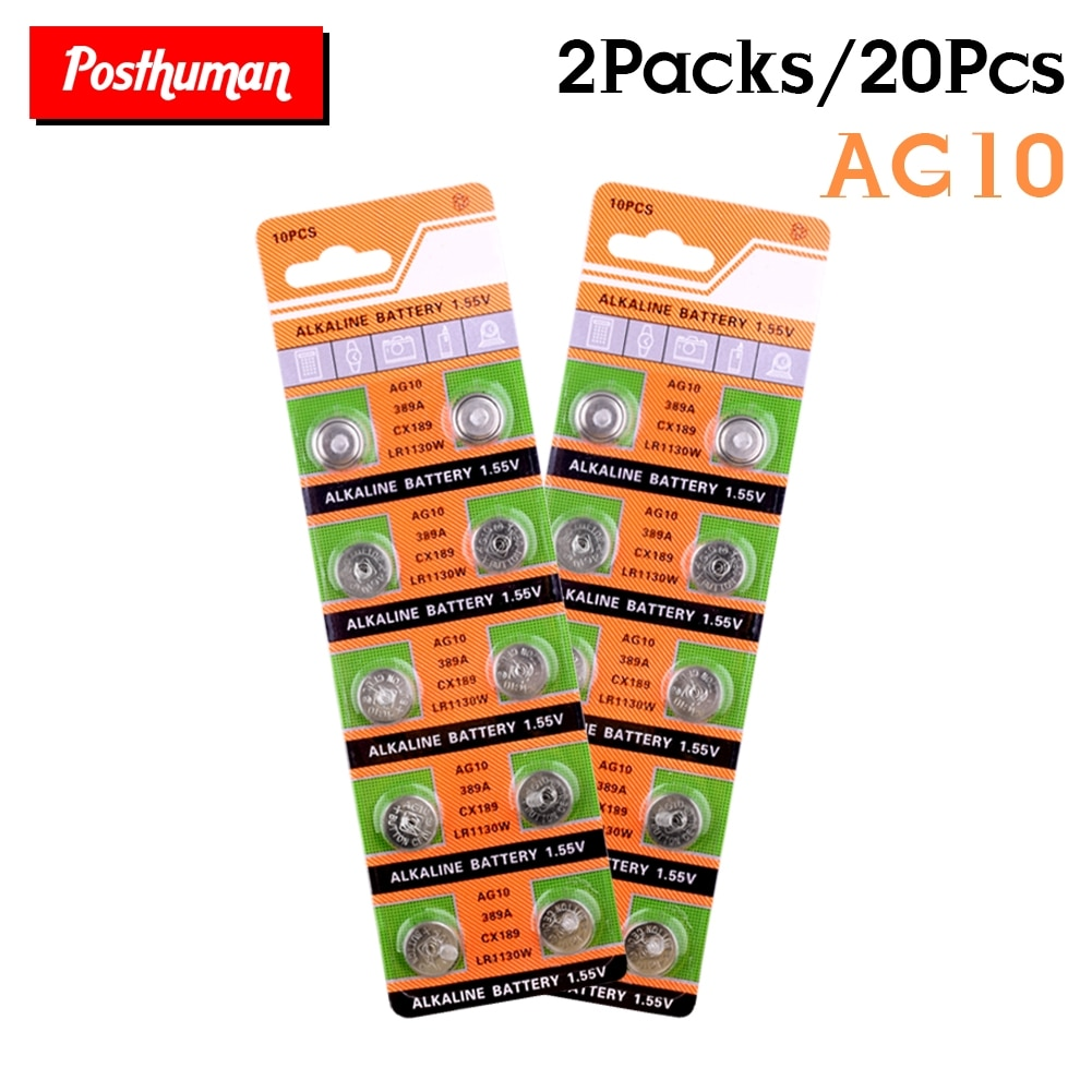 POSTHUMAN AG10 Alkaline watch remote cells 20Pcs 1.55v lr1130 coin cell button battery ag10 lr54 189 389a v10ga 1168a ka5