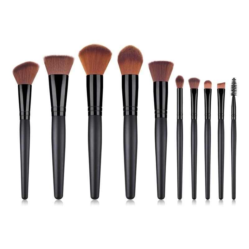 10 шт./компл. набор кистей для макияжа с черной ручкой румяна консилер Foundation тени для век аппликатора пламени микро кистей для макияжа T10171