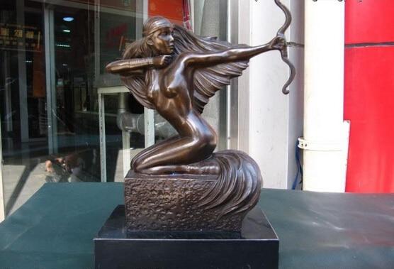 S0231 Cáncer mujer escultura de Arte Occidental Bronce Puro Tallado D0318
