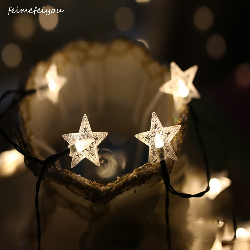 1M2M 10/20LEDs Star String Lights Battery Powered Star Lights Decorative Stars Kids Room Wedding Birthday Indoor Outdoor