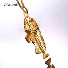 Collare Visgraten & Vishaak Hanger Goud/Zwart Rvs Grote Vis Skelet Ketting Pesca Mannen Sieraden P014