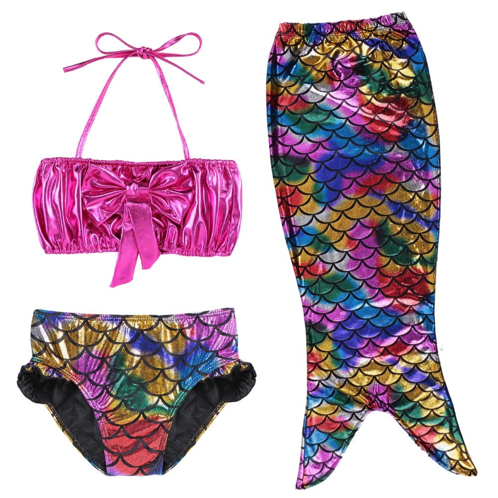 Cute Baby Bikini Set Swimwear Toddler Teens Girls Mermaid Tail Swimming Suit Dress Infant Kids Swimsuit Beachwear Bathing Suit