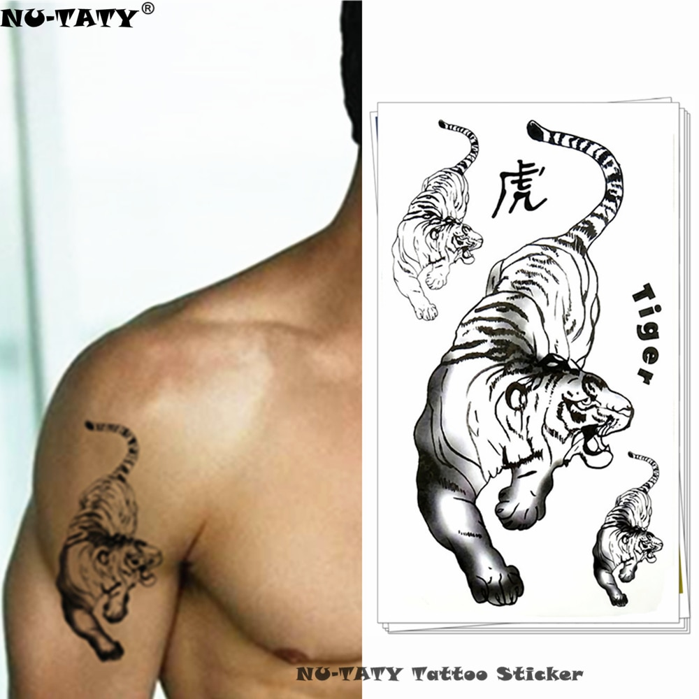 Nu-taty tigre siberiano branco tatuagem temporária corpo arte braço flash tatuagem adesivos 17*10cm à prova dwaterproof água falsa henna indolor tatuagem