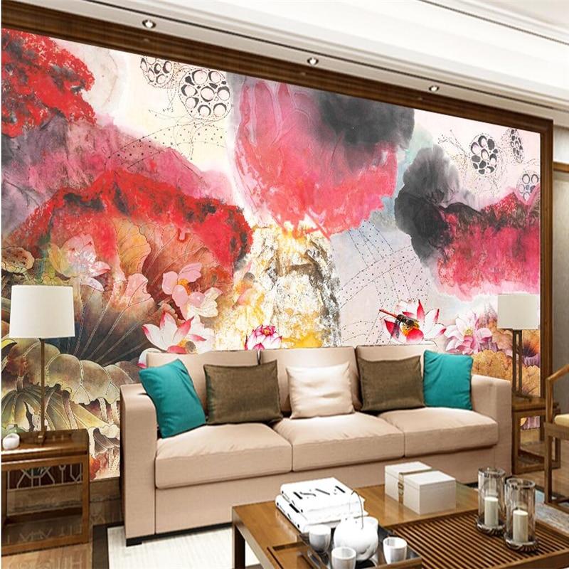 Papel tapiz grande de beibehang foto de murales personalizado cualquier tamaño tinta libélula roja lotus nuevo papel tapiz chino para pared de dormitorio