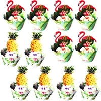24pcslot cute flamingos cupcake wrappers cup cake muffin paper wrapper and toppers children birthday party decorsupplies